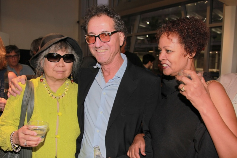 Carey Kawaye Morrison, widow of painter Andy Wilf, with performance artist Richard Newton and his wife, Lydia Shiferaw.