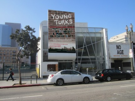 "Artists rendering of Downtown Independent Theatre, 251 S. Main St., L.A. with ""Young Turks"" banner."