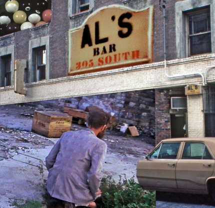 """Al's Bar"" photocollage by Pamela Wilson and Stephen Seemayer, 2013 (detail)"