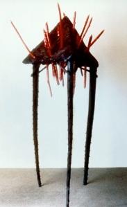 """Noche a Noche, 1981, wood, tar, yucca stalks, paint, 90"""" x 36"""" x 36"""""""