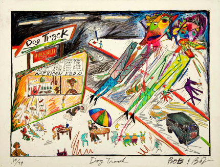 Bob & Bob's painting of the Dog Track, a burrito stand that once occupied the Northeast corner of Olympic & Central.