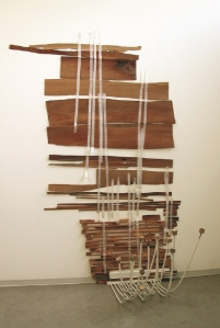 """And Then Some"" Wood, bamboo, strapping tape 99"" x 61"" x 40"" (2012)"